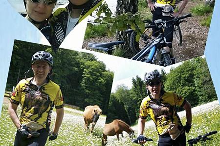 Foto-Collage: Stomaträger unterwegs auf dem Mountain-Bike zeigt seinen Beutel am Bauch
