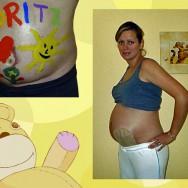 Foto: schwangere Stomaträgerin zeigt ihren Babybauch