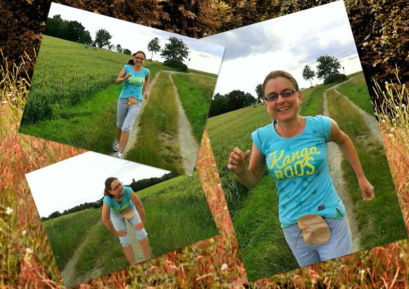 Foto: Stomaträgerin zeigt ihren Stoma-Beutel beim Lauf-Training